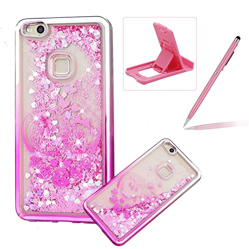 Liquid Clear Case for Huawei P10 Lite,Glitter TPU Cover for Huawei P10 Lite,Herzzer Luxury [Cute Owl Pattern] Soft Flexible with Electroplated Frame Flowing Sparkle Love Heart Star Crystal Back Case