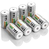 EBL Rechargeable C Batteries 5,000mAh Ni-MH C Size Battery, Pack of 8