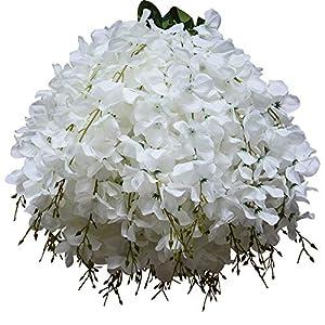 50 Pcs Single Artificial Fake Wisteria Vine Ratta Silk Flower for Garden and Home Decor white 91