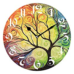 Wamika Wall Clock Tree of Life Rainbow Branch Leaves Seasonal Flowers Round Clock Silent Non Ticking Decorative, Spring Summer Autumn Floral Clocks 10 Inch Battery Operated Quartz Quiet Desk Clock
