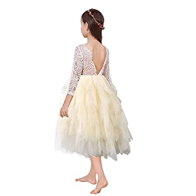 1312bfbdb336a0 Miss Bei Lace Back Flower Girl Dress,Kids Cute Backless Dress Toddler Party  Tulle Tutu