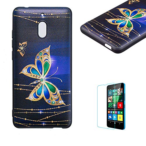 Price comparison product image Funyye Relief Rubber Case for Nokia 2.1 2018, Stylish Gold Butterfly Pattern Soft Silicone TPU Gel Cover, Shockproof Non Slip Back Cover Smart Shell Protective Case for Nokia 2.1 2018