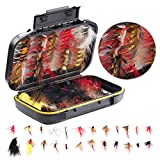 Fly Fishing Flies Assortment Kit- 100 pcs Handmade Fly Fishing Lures-Dry/Wet Flies,Streamer, Nymph, Emerger with Waterproof Fly Box