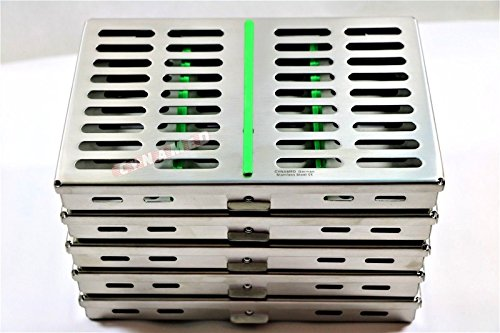 10 GERMAN DENTAL SURGICAL AUTOCLAVE STERILIZATION CASSETTE BOX FOR 10 INSTRUMENTS GREEN ( CYNAMED ) by CYNAMED (Image #1)
