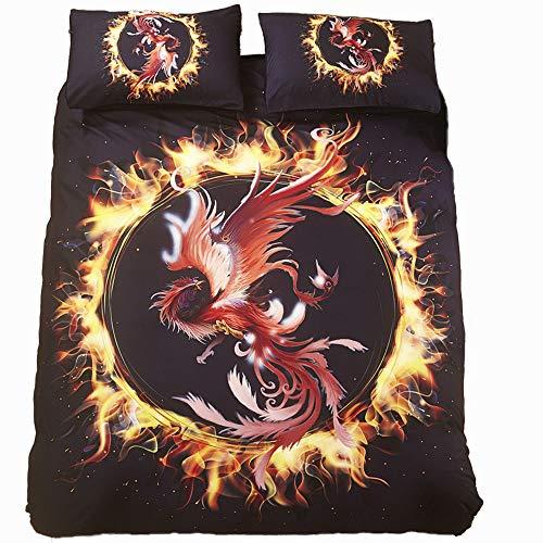 (ADASMILE A & S 3D Black Fire Birds Twin Duvet Cover Set for Boys Teens Microfiber Bedding Set Bedroom)