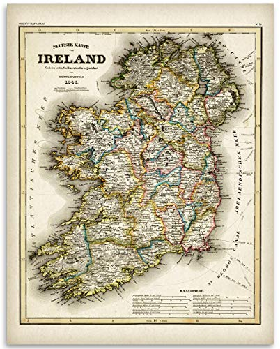 (1844 Ireland Map - 11x14 Unframed Art Print - Great Vintage Irish Home Decor Under $15 )