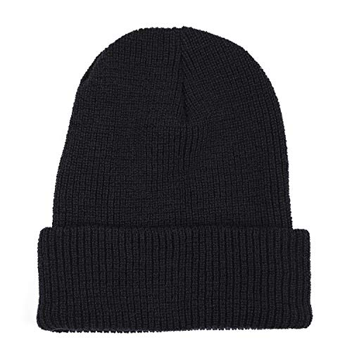 Wigwam Men's Wool Ribbed Watch Cap, Black, One Size -