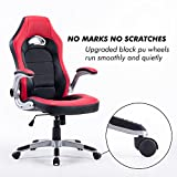 Executive Swivel PC Gaming Racing Desk Chair PU Leather High-Back Computer Office Chair for Adults/Kids Red with Black, Thick Padded Flip Up Armrest, Comfortable Seat with 5 Wheels Nylon Base