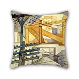 bestseason oil painting Fermín Revueltas - Outdoor Scaffolding throw cushion covers 18 x 18 inches / 45 by 45 cm for girls,gf,family,dining room,divan,gril friend with double sides