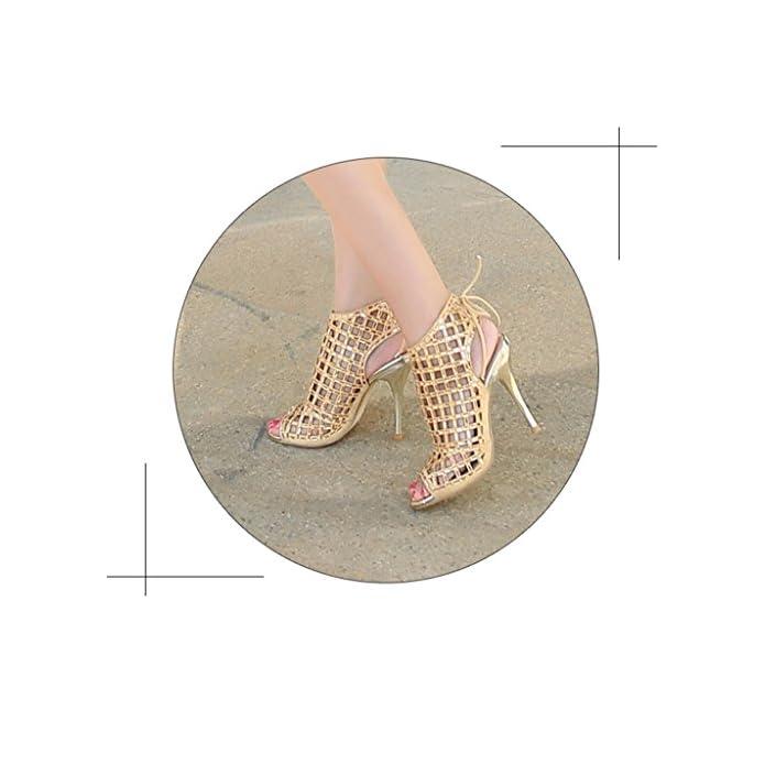 Single Shoes - Female Signore Di Alta Tacchi Alti Sandali Sexy Hollow Abiti Da Sposa D'oro Partito Dei Pattini colore Height 8cm Dimensioni 39 uk6 us7 245mm