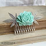 weed gift, stoner gift, hair clip,Marijuana hair accessory, stoner gift, wedding comb cannabis accessory weed CABBAGE MINT SILVER