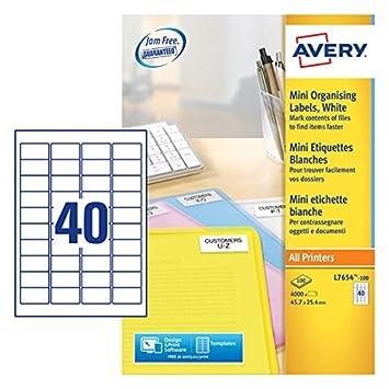 Avery L7654-100 - Etiquetas para impresora laser (45.7 x 25.4 mm, autoadhesiva), 100 hojas/ 4000 etiquetas: Amazon.es: Oficina y papelería