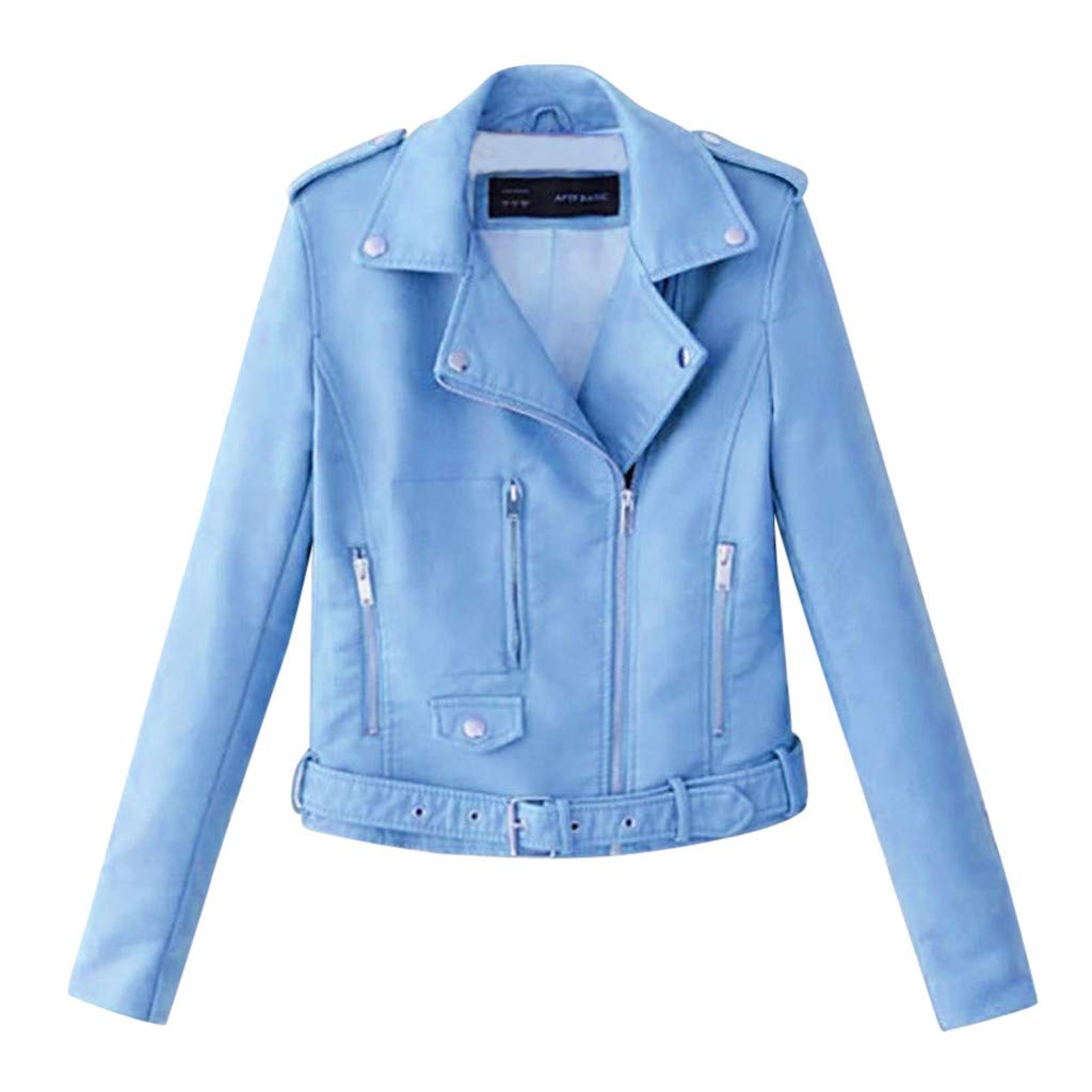 Gleamfut Women's Leather Short Jacket Turn-Down Collar Long Sleeve Rivet Motor Zipper Short Tops Coat Blue by Gleamfut