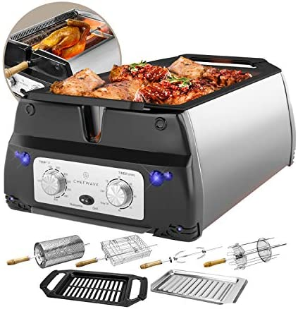 ChefWave Smokeless Indoor Electric Grill Rotisserie 5 in 1 Non-Stick Tabletop Kitchen BBQ Grill with Infrared Technology Includes Kebab Skewer Set, Fries Basket Fish Cage, Drip Tray