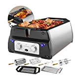 ChefWave Smokeless Indoor Electric Grill & Rotisserie - 5 in 1 Non-Stick Tabletop Kitchen BBQ Grill with Infrared Technology - Includes Kebab & Skewer Set, Fries Basket & Fish Cage, Drip Tray