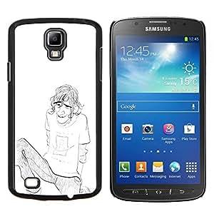"Be-Star Único Patrón Plástico Duro Fundas Cover Cubre Hard Case Cover Para Samsung i9295 Galaxy S4 Active / i537 (NOT S4) ( Chico Chico Hombre Lápiz Chilling Art Dibujo Cejas"" )"
