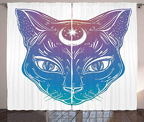 Boho Blackout Curtains Window Decor, Cat Head with Moon and Star Spiritual Egyptian Lunar Esoteric Figure Bedroom Living Room Window Draperies 2 Panels Set, -