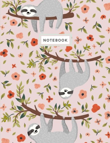 Notebook Composition Book, Journal Sloth Pink Blush Notebook 8.5 x 11 Large