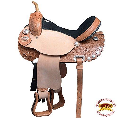 HILASON 14″ 15″ 16″ 17″ Western Horse Saddle Treeless American Leather Trail Barrel Racing Tan