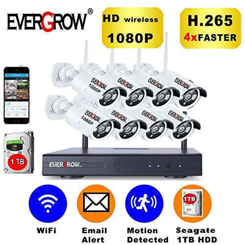 [2019 Update] EVERGROW H.265 Wireless Home Security Cameras System,1TB Hard Drive,8 Channel 1080P NVR, 8 HD 1080P 2.0MP Outdoor Indoor Home Video WiFi Cameras CAM-WIFI-8CH-2MP-168