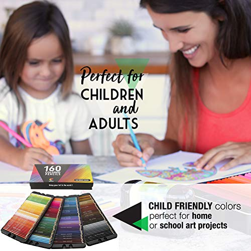 160 Zenacolor Colouring Pencils (Numbered) - Easy Storage - Professional set of Colouring Pencils for Adults and Children - Ideal for Adult Colouring Books, Sketch Book, School Supplies