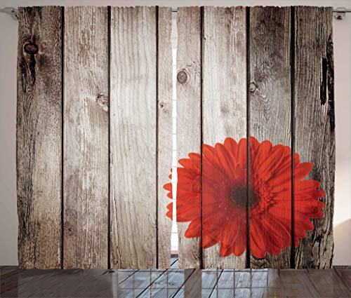 Ambesonne Grunge Decor Collection, Rustic Wooden Garden Fence with a Red Daisy Bloom Picture Flower Art Floral Garden Design, Living Room Bedroom Curtain 2 Panels Set, 108 X 84 Inches, Grey Red