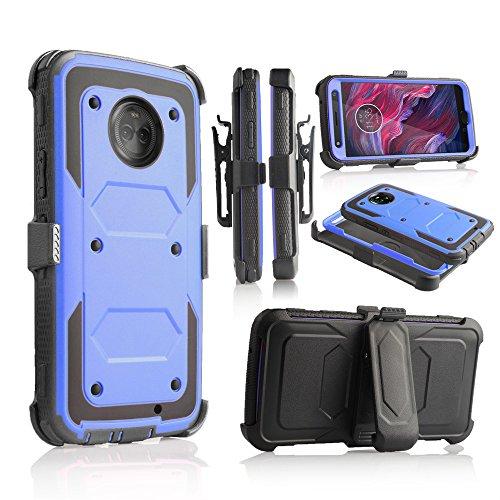 Dry Explorer - For Motorola X4, XT1900-1, Motorola Moto X 4th Gen (2017), Moto X4 Android Full Body Rugged Holster Explorer Armor Case with Built in Screen Protector (Blue)
