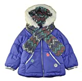 London Fog Little Girls' Mid-Weight Coat with Scarf, Purpkle, 6X