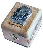First Communion Box - Rosary Box - Bethlehem Olive wood (Metal Padre Pio)
