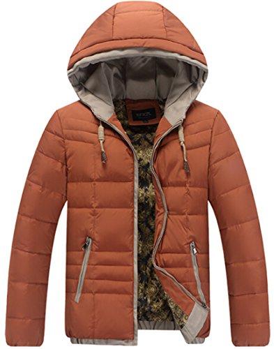 padded Mens orange Warm Jackets Casual Zipper xl Coats Cotton EKU Hoodie Oq6Xnq