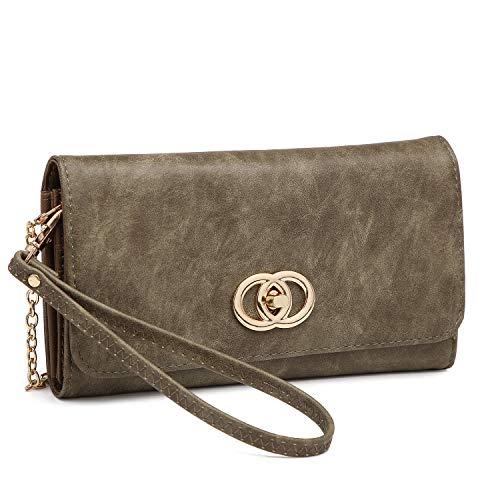 Purse 3022 Crossbody Shoulder Clutch Wallet Cellphone Bag Holder Green army Ladies Women Card Wristlet qxFavwPP