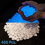 2.2lbs, 450 Piece Glow in the Dark Pebbles, Rocks, Stones. Great for Backyard or Indoor Decor, Garden Decorations, Patio Decoration, Zen Garden, Aquariums, Flower Beds (White 450PCS)
