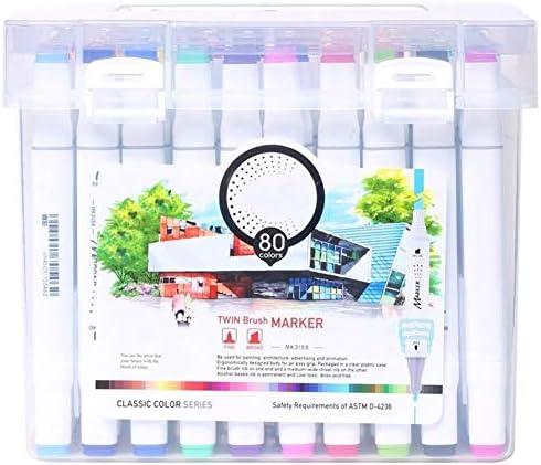 オイリーダブル向かったマーカーペンの手描きデザインセット学生の色のペンマーカーセット12または24または36または48または60または80 クリーンカラー (Size : 80 colour)