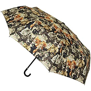 Signare Womens Fashion Folding Hook Handle Umbrella in 9 Designs (Cat)