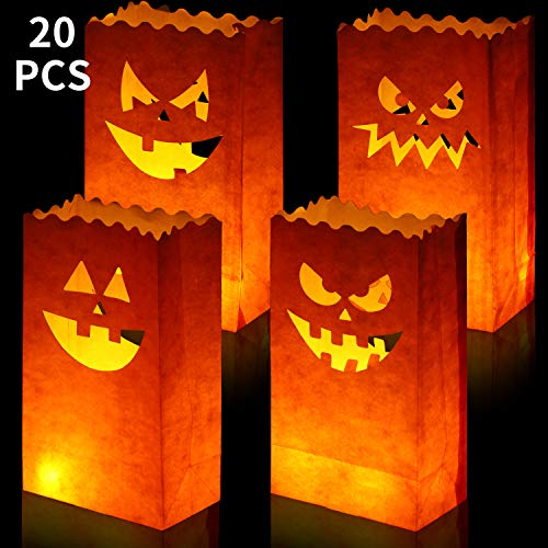 Paper Bag Halloween Luminaries (20 Pieces Halloween Pumpkin Bags Candle Luminary Bags Paper Lantern Bags for Halloween Wedding Party)