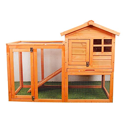 (MIERES Natural Wood House Pet Supplies Small Animals House Rabbit Hutch)