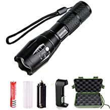 LED Tactical Flashlight,QIANXIANG 900 Lumen XML-T6 Portable Outdoor Water Resistant Torch with Adjustable Focus and 5 Light Modes,Rechargeable 18650 Lithium Ion Battery and Charger