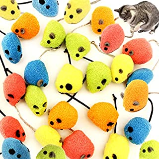 Youngever 20 Pcs Cat Toys, Catnip Mice, Cat Mouse Toys, Catnip Cat Toys, Interactive Play for Cat, Puppy, Kitty, Kitten (Color)