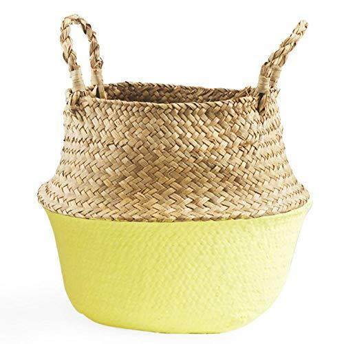 Best Quality - Storage Baskets - Foldable Natural Woven Seagrass Knit Big Belly Storage Basket Flower Pot Laundry Basket Weaving Basket Fruit Basket - by SeedWorld - 1 PCs ()