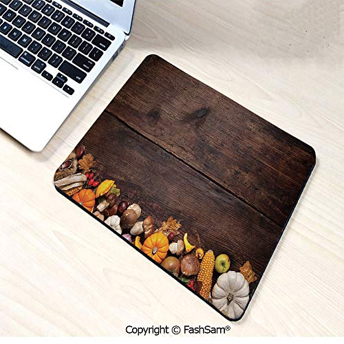 Non-Slip Rubber Mouse Pads Harvest Food on Dark Colored Wooden Table Autumn Vegetables Corn Pumpkin Decorative for Computers Laptop Office(W9.85xL11.8)