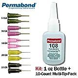 Permabond 108 (1oz Bottle+Tip Multipack) Instant Adhesive-Fast-Set-Gap Filling, Great for Plastic & Rubber