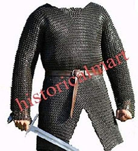 MEDIEVAL CHAINMAIL VEST 09MM SCA MILD STEEL FLAT RIVETED OILED FINISHD