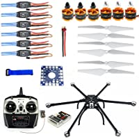 QWinOut DIY Drone Multicopter ARF : Six-axle Hexacopter Aircraft Unassembled Frame Kit + QQ SUPER Control Board Version + 8CH TX&RX + ESC + Motor