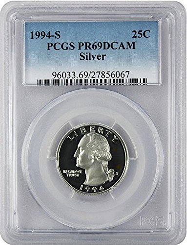 (1994 S Silver Proof Washington Quarter PCGS PR 69 DCAM New Blue Label Holder)