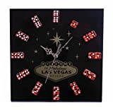 Cheap Las Vegas Black Dice Clock Gambling Poker Clock Man Cave Accessory Wall Clock