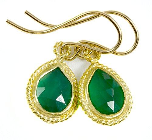 (14k Yellow Gold Onyx Earrings Green Faceted Teardrops Fancy Goldtone Bezeled Small Simple Drops)
