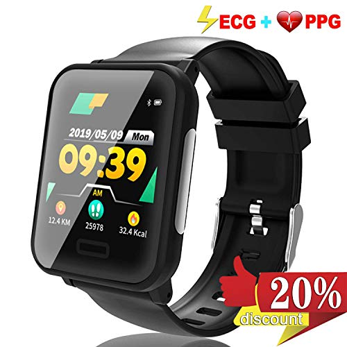 Fitness Tracker ECG&PPG, Waterproof Activity Tracker Watch with Heart Rate Blood Pressure&Oxygen Sleep Monitor, Pedometer, Calorie, Multiple Sports Modes Custom Dial HD Touch TPU Prime Travel Gifts