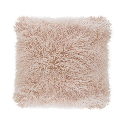 - Faux Mongolian Poly Filled Throw Pillow (Rose, 18x18)