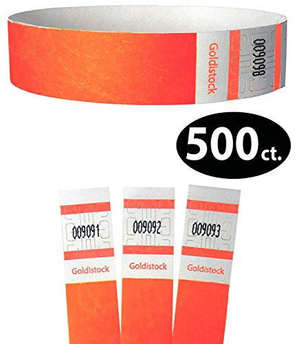 Goldistock Select Series - 3/4 Tyvek Wristbands Day Glow Neon Orange 500 Count - Event Identification Bands (Paper - Like Texture)