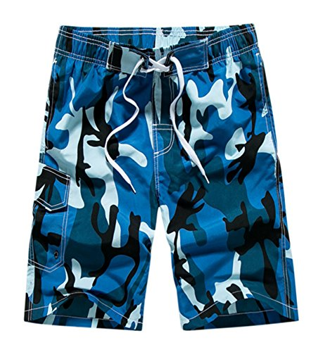 Mens Camouflage Coconut Tree Print Quick Dry Lightweight Beach Short Swim Trunk Three Pocket Mesh Lining